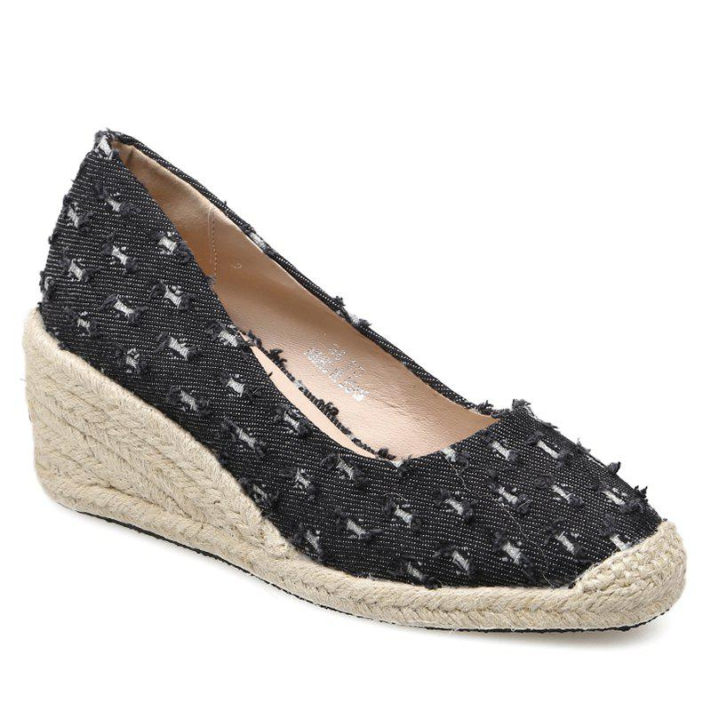 Distressed Knitted Espadrille Wedge Shoes - BLACK 37