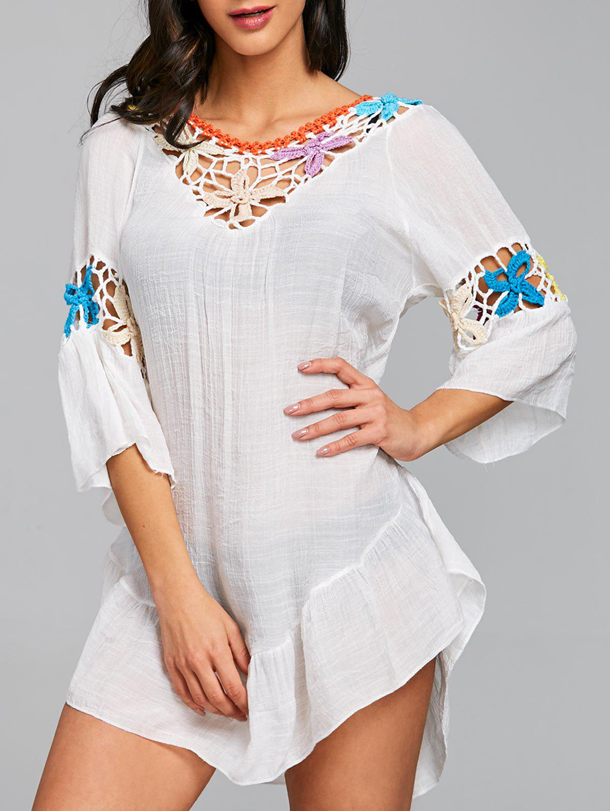 Flounce Floral Crochet Panel Cover Up Dress - WHITE ONE SIZE