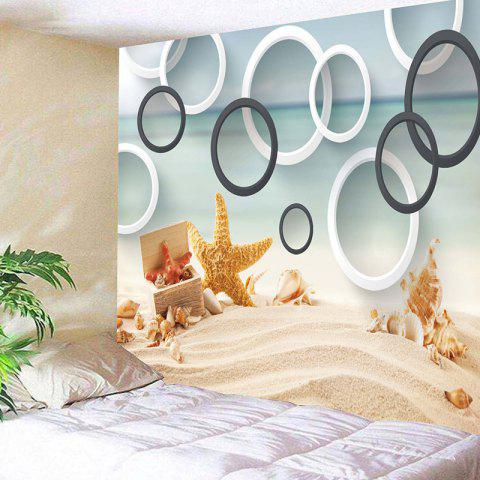 Beach Starfish Conch Circles Print Wall Tapestry - COLORMIX W59 INCH * L59 INCH
