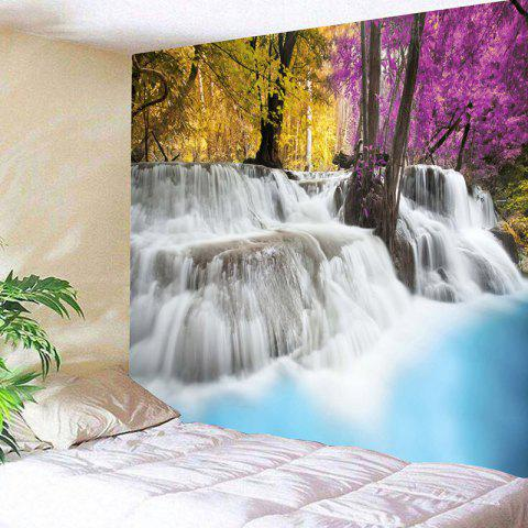 Natural Waterfall Landscape Pattern Wall Art Tapestry - COLORFUL W59 INCH * L51 INCH