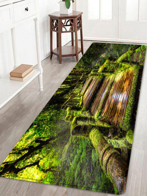 Wooden Path In Forest Pattern Indoor Outdoor Area Rug - GREEN W24 INCH * L71 INCH