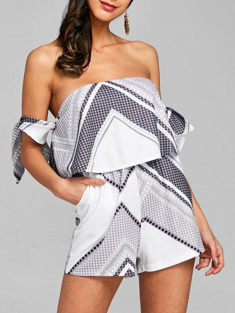 Off The Shoulder Bowknot Ruffle Romper - WHITE L