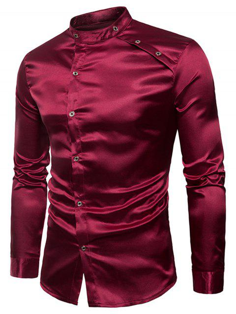 Long Sleeve Bright Buttons Panel Shirt - WINE RED 2XL