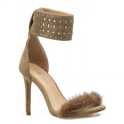 Faux-Fur  Strap Stiletto Heel Sandals - APRICOT 38