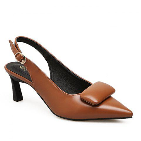 High Heel Slingback Pumps - BROWN 38