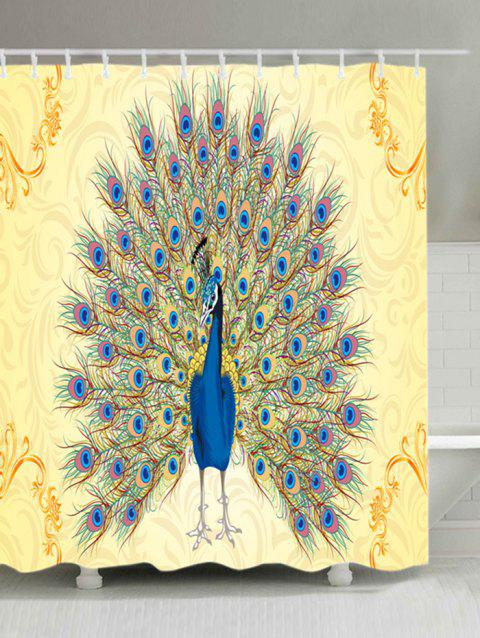 Peacock Print Waterproof Shower Curtain - COLORMIX W71 INCH * L79 INCH