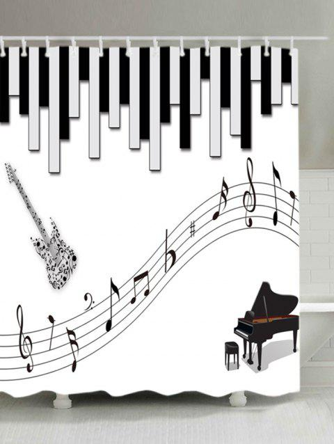 Musical Instrument Pattern Waterproof Shower Curtain - WHITE W71 INCH * L71 INCH