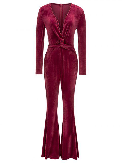 Twist Plunging Neck Flared Leg Jumpsuit - RED L