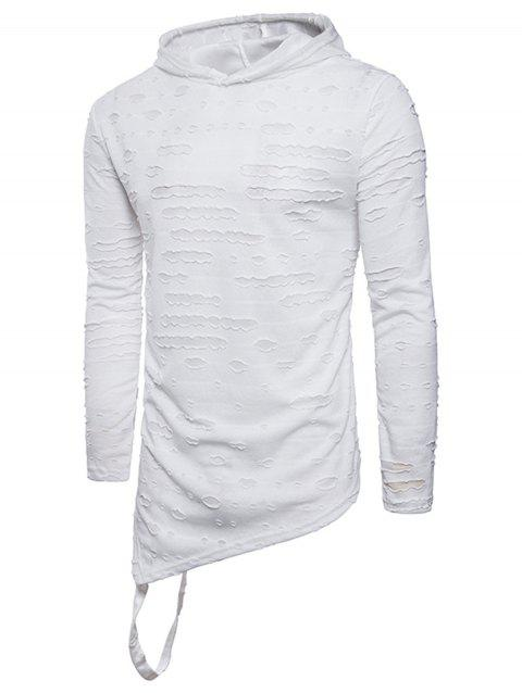 Hooded Distressed Longline Asymmetric T-Shirt - WHITE 3XL