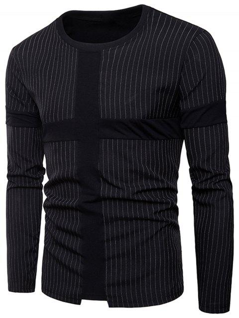 Panel Design Vertical Stripe T-shirt - BLACK XL
