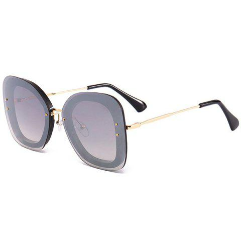 Anti-fatigue Metal Frame Butterfly Sunglasses - BLACK/MERCURY