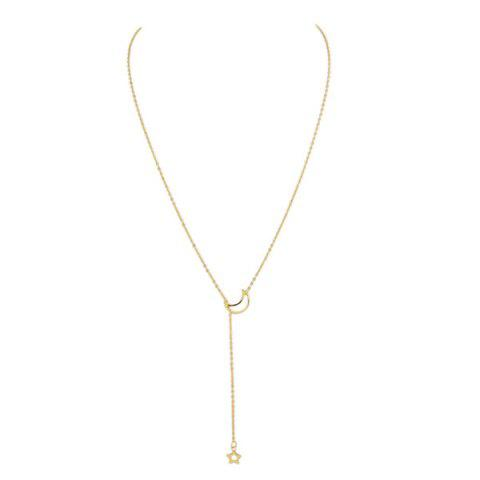 Moon Star Chain Pendant Necklace - GOLDEN
