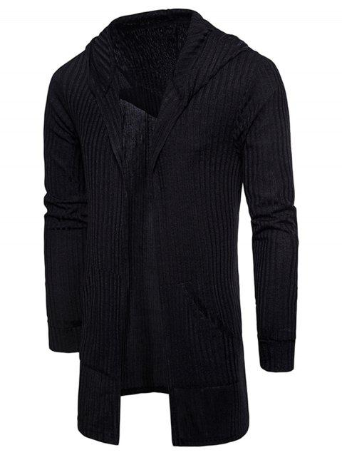 Pockets Longline Knitting Cardigan - BLACK XL