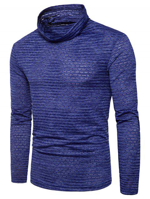 Turtle Neck Stripe Jacquard T-shirt - BLUE 3XL