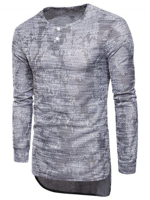 Long Sleeve Longline Jacquard T-shirt - GRAY L