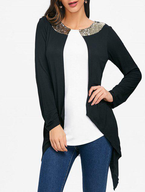 Two Tone Sequins Asymmetrical T-shirt