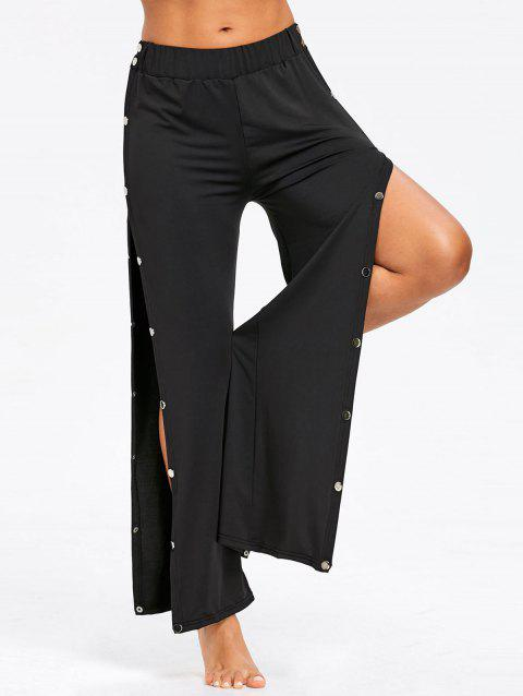 Snap Button Side Casual Pants - BLACK S