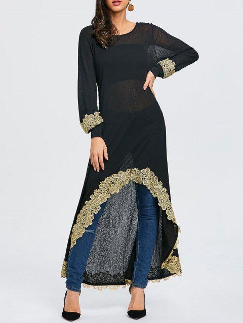 Embroidery High Low Long T-shirt - BLACK 2XL