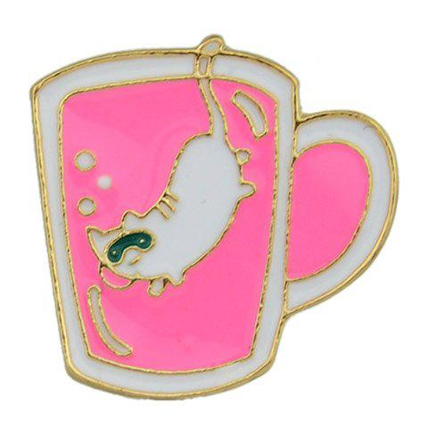 Cat Pattern Pink Cup Pin Brooch - ROSE RED