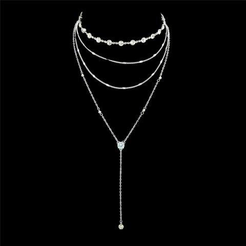 Rhinestone Layered Chain Collarbone Necklace Set - SILVER