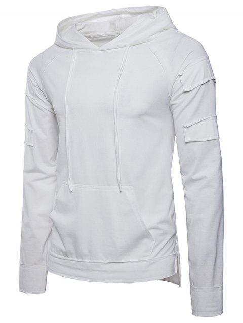 Pouch Pocket Panel Design Pullover Hoodie - WHITE L