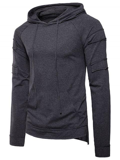 Pouch Pocket Panel Design Pullover Hoodie - DEEP GRAY L