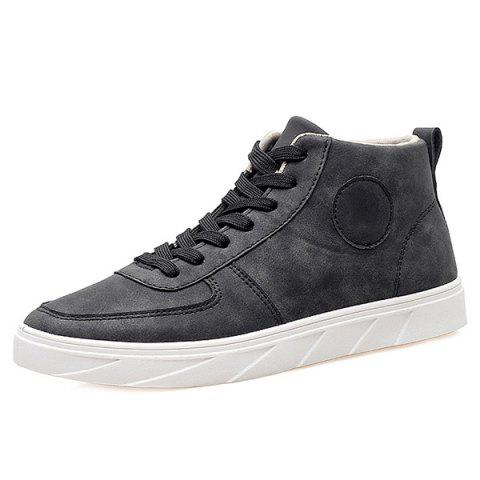 Stylish PU Leather and Tie Up Design Men's Casual Shoes - BLACK 40