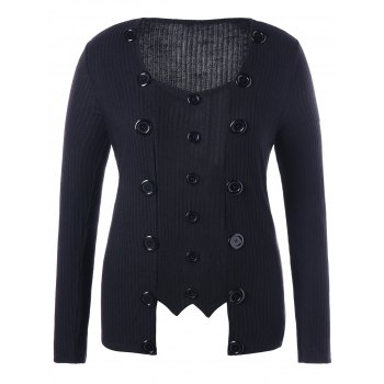 Double Button Plus Size Ribbed Sweater - BLACK 2XL