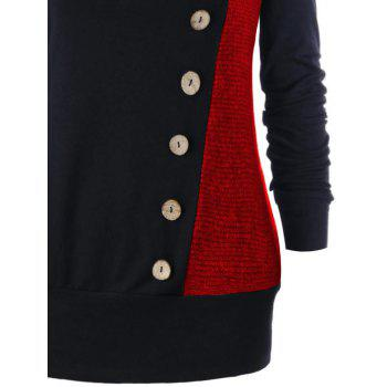 Plus Size Buttons Heap Collar Tunic Sweatshirt - RED XL
