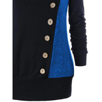 Plus Size Buttons Heap Collar Tunic Sweatshirt - BLUE XL