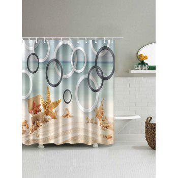Beach Conch Starfish Circles Waterproof Bath Curtain - COLORMIX W71 INCH * L79 INCH