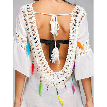 Flounce Open Back Fringe Cover Up - WHITE ONE SIZE