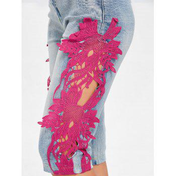 Hollow Out Crochet Trimmed Denim Shorts - ROSE RED M