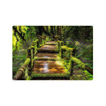 Wooden Path In Forest Pattern Indoor Outdoor Area Rug - GREEN W16 INCH * L24 INCH