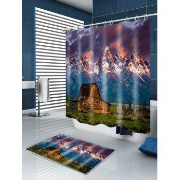 Snow Mountain Steppe Homestead Print Fabric Shower Curtain - GREEN W59 INCH * L71 INCH