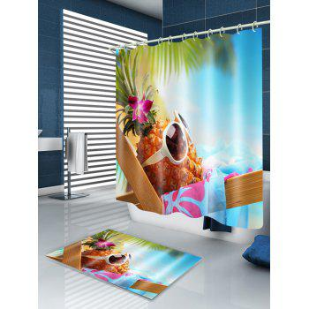 Hawaiian Pineapple Basking in Sunshine Print Shower Curtain - COLORMIX W71 INCH * L79 INCH