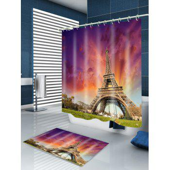 Eiffel Tower at Dusk Print Bath Shower Curtain - MANDARIN W71 INCH * L79 INCH