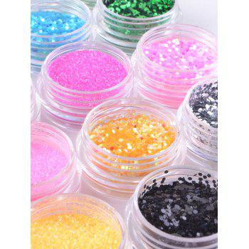 24 Colors 3D Glitter Acrylic Nail Decor Sequins Powder Sticker - multicolor