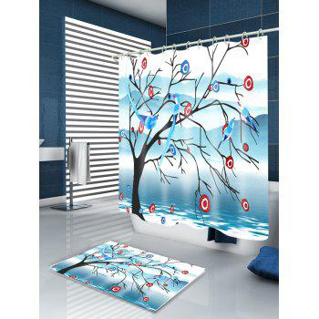 Waterproof Birds Singing in Tree Print Shower Curtain - COLORMIX W71 INCH * L79 INCH