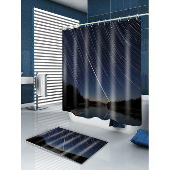 Meteor Shoots Across the Sky Print Bath Curtain - CERULEAN W59 INCH * L71 INCH