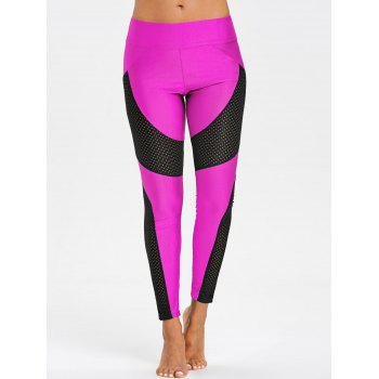 See Through Workout Leggings with Mesh Insert - ROSE RED L