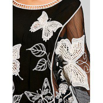 Batwing Mesh Butterfly Embroidery Cover Up - WHITE/BLACK ONE SIZE