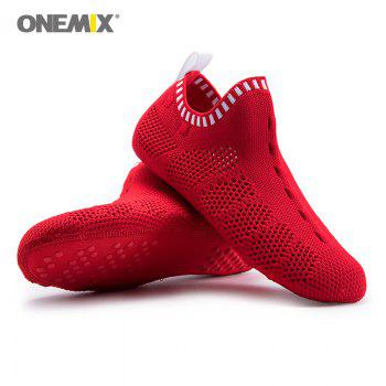 ONEMIX Indoor Slip On Knit Casual Shoes - RED/WHITE 42