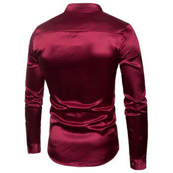 Long Sleeve Bright Buttons Panel Shirt - WINE RED L