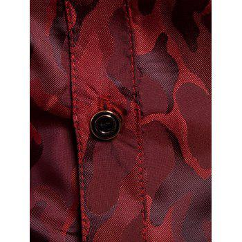 Glossy Camouflage Long Sleeve Shirt - WINE RED L
