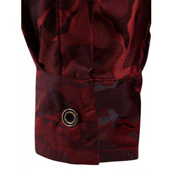 Glossy Camouflage Long Sleeve Shirt - WINE RED XL