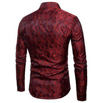Glossy Camouflage Long Sleeve Shirt - WINE RED 2XL