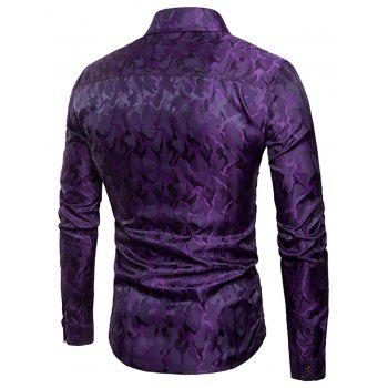 Glossy Camouflage Long Sleeve Shirt - PURPLE L
