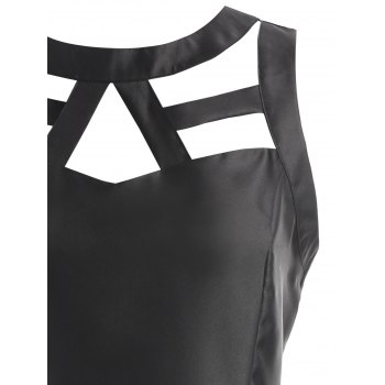 Cut Out Mesh Panel Fit and Flare Dress - BLACK XL