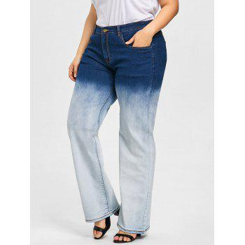 Plus Size Gradient Color Wide Leg Jeans - COLORMIX XL